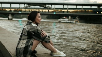 women, river, sitting, sneakers, bridge, women outdoors, plaid shirt, portrait