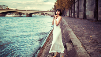 women, arie rippon, river, white dress, women outdoors, ods ranck