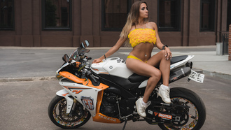 women, blonde, tanned, sneakers, women with motorcycles, sitting, belly, women outdoors, socks, pierced navel, yellow bikinis, amaha