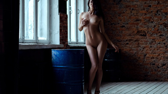 women, nude, brunette, window, bricks, boobs, nipples, barrels, belly, high heels, pierced navels, haved pubic hair, wall, necklace, hips