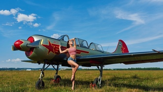women, airplane, tanned, vgenyi emenev, women outdoors, jean shorts, belly, long hair, grass