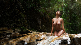 women, nude, river, kneeling, rain, wet body, wet hair, belly, water, boobs, nipples, women outdoors, tanned