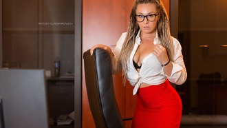 women, nton ladimirovich, dreadlocks, women with glasses, red skirt, blonde, kneeling, white shirt, yellow nails, black bras, portrait, high heels