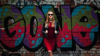 women, red dress, blonde, wall, graffiti, leather jackets, bricks, choker, red lipstick, sunglasses, portrait