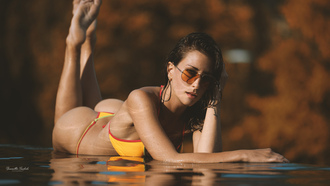 women, ellow bikini, water, ass, sunglasses, wet hair, wet body, water drops, lying on front, tanned
