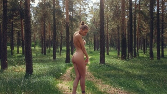 women, nude, ass, blonde, tattoo, hairbun, trees, forest, brunette, women outdoors, covering boobs