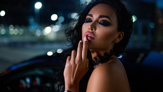 women, van orokhov, tanned, women with cars, face, finger on lips, closed eyes, pink nails, juicy lips