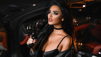 women, van orokhov, tanned, gun, women with cars, leather jackets, black hair, choker, juicy lips, portrait