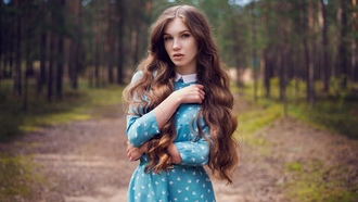 women, dress, portrait, trees, blue eyes, long hair, women outdoors, forest, belt