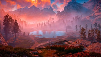 horizon, zero dawn, озеро