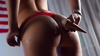 women, ice cream, ass, red panties, painted nails, water drops, flag, holding panties