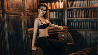 women, portrait, jeans, black bras, women with glasses, red nails, books, sitting