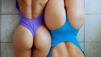 women, ass, top view, brunette, onepiece swimsuit, water drops, back, two women, the gap, on the floor