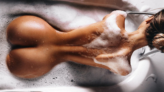women, top view, ass, nude, back, soap, hairbun, water drops, tanned, bathtub
