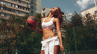 nga unagatullina, women, ball, redhead, closed eyes, white tops, belly, thong, tattoo, building, women outdoors, overalls