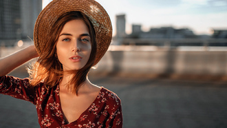 women, hat, portrait, women outdoors
