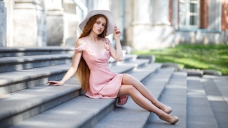 women, aksim omanov, pink dress, high heels, long hair, hat, redhead, sitting