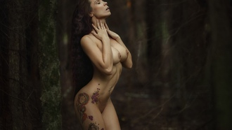 ksinia hvyriova, women, nude, boobs, inked girls, brunette, long hair, trees, nipples, closed eyes, forest
