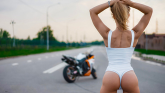 women, blonde, motorcycle, ass, back, onepiece swimsuit, tan lines