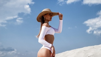 women, ass, hat, brunette, swimwear, sky, clouds, women outdoors, portrait