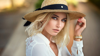 women, hat, blonde, ods ranck, portrait, face
