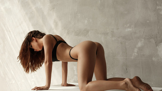 women, black lingerie, ass, brunette, wall, arina vakian