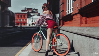 women, sandals, redhead, sunglasses, ass, bare shoulders, women with bicycles