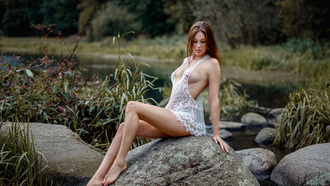 women, sitting, boobs, rocks, river, women outdoors, nipples through clothing, water drops, seethrough clothing, portrait