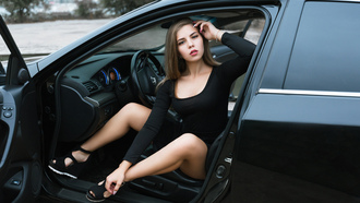 women, black dress, women with cars, portrait, brunette, sitting, blonde
