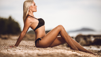 women, blonde, tanned, black bikini, sitting, pierced navel, belly