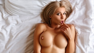 women, blonde, boobs, nipples, red nails
