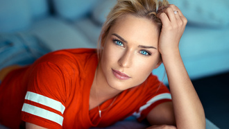 women, blonde, ods ranck, shirt, blue eyes, portrait