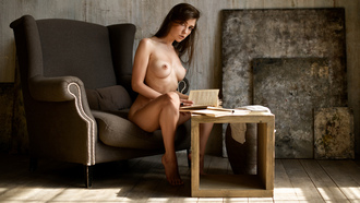 women, nude, sitting, boobs, nipples, books, brunette