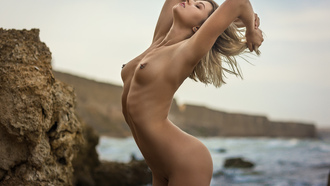 women, blonde, nude, sea, armpits, belly, ribs, brunette, trimmed pubic hair, boobs, nipples, women outdoors, piercing nipples, ass