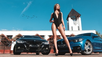 women, tanned, women with cars, high heels, women outdoors, cleavage, onepiece swimsuit