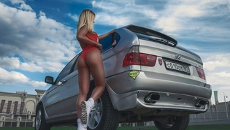 women, blonde, ass, tanned, onepiece swimsuit, shoes, rear view, women with cars