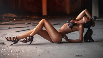 women, aurent ace, tanned, closed eyes, ass, black lingerie, seethrough clothing, abandoned, high heels