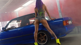 women, lex azilev, purple hair, ass, tattoo, sneakers, jean shorts, painted nails, back, women with cars, smoke, dyed hair