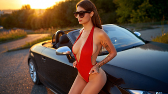 women, sunglasses, inked girls, onepiece swimsuit, white nails, women with cars, underboob, sunset, cleavage