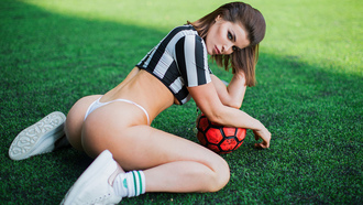 women, kneeling, ball, ass, white panties, sneakers, synthetic grass, underboob