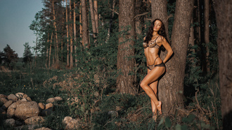 women, tanned, belly, trees, forest, women outdoors, lingerie, ribs, pierced navel, closed eyes