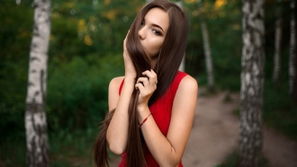 women, portrait, red clothing, trees, long hair, bokeh