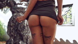 women, tanned, dress, tattoo, ass, back, panties