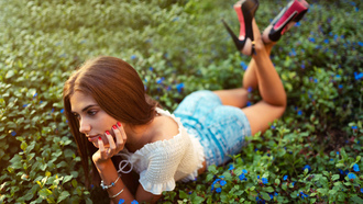 women, arco quassina, high heels, jean shorts, red nails, lying on front