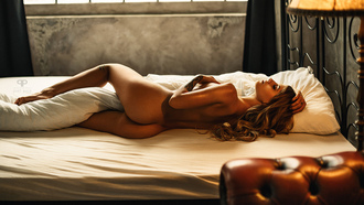 women, tanned, ass, nude, blonde, lamp, in bed, tattoo, back, hands on boobs, closed eyes, pillow