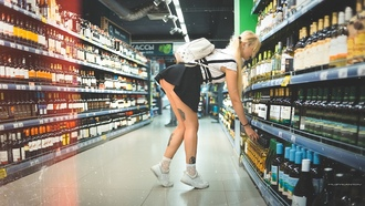 women, super market, tattoo, handbags, sneakers, blonde, ass, pigtails, skirt