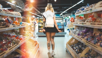 women, super market, tattoo, handbags, sneakers, blonde, ass, pigtails, back, socks, skirt