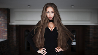 women, portrait, long hair, hands on hips, cleavage, black clothing