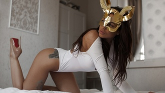 women, ass, tattoo, mask, in bed, high heels, white clothing, monokinis