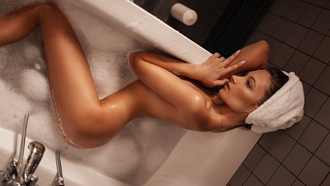 women, nude, soap, towel head, ass, top view, water, bathtub, candles